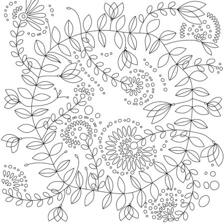 Doodle flowers vector illustration for coloring book 向量圖像