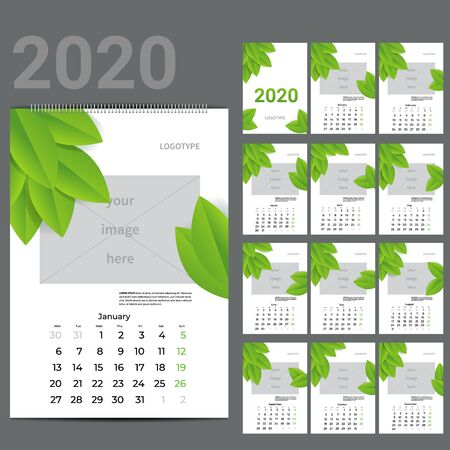 ECO style calendar of 2016. Vector illustration