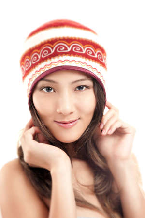 Beautiful Asian Woman in Winter Hat isolated on white background photo