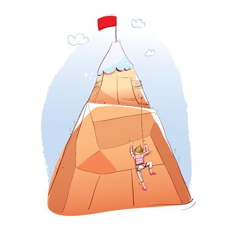 mountain climber: man climbing a mountain.  illustration Illustration