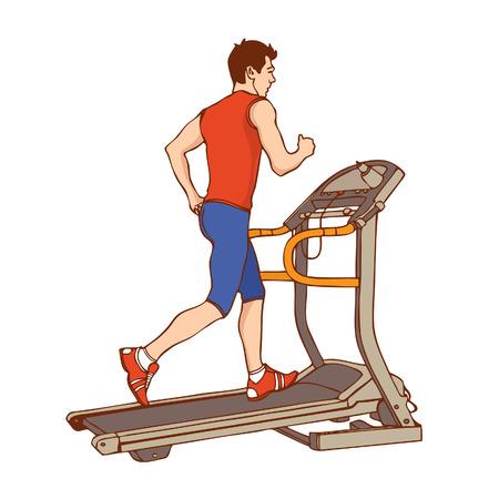 gymnasium: Man on treadmill.   illustration
