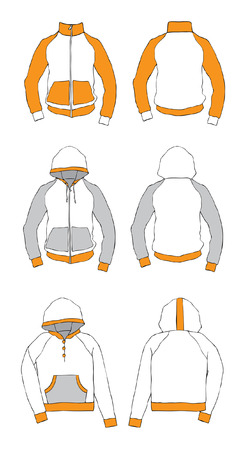 Anorak: Kleidung mit Kapuze. Abbildung  Illustration