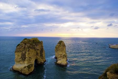 iconic: Beirut City iconic sea side rawche rocks