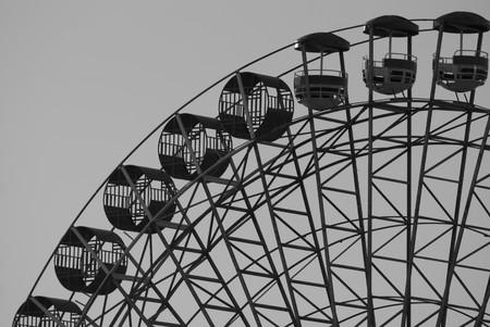 A black ferris wheel ona grey background Stock Photo - 6961032