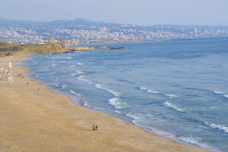 beirut: Ramlet el baida beach , the sea front of beirut city Stock Photo