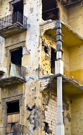 middle east war: a building still a living witness of lebanese civil war