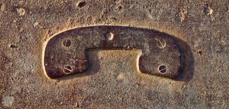 A metallic phone sign which is rust and brown Stock Photo - 7125503