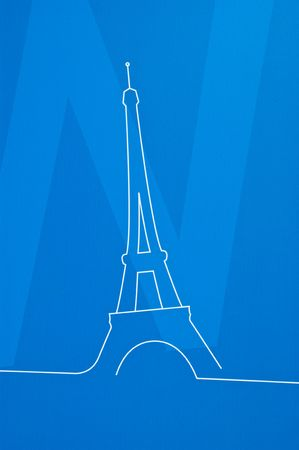 Eiffel tower drawing on a blue background photo