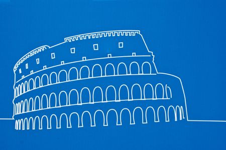 the coliseum on a blue background photo