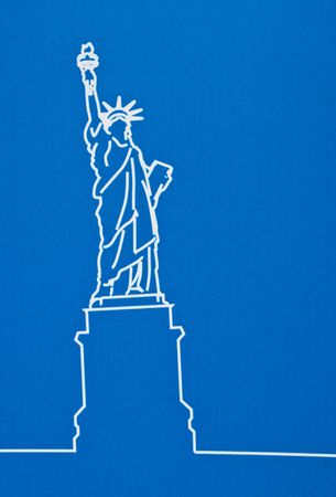 Statue od liberty on a blue background photo