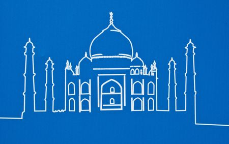dome of hindu temple: Taj Mahal of india on a blue background