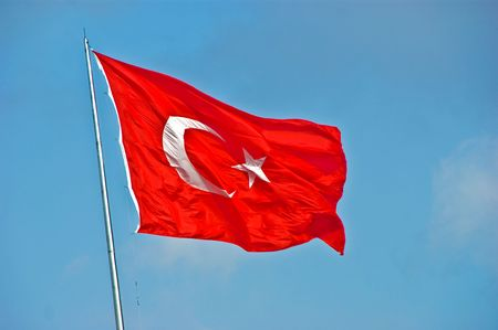 nationalist: The red flag of turkey in taksim square Stock Photo