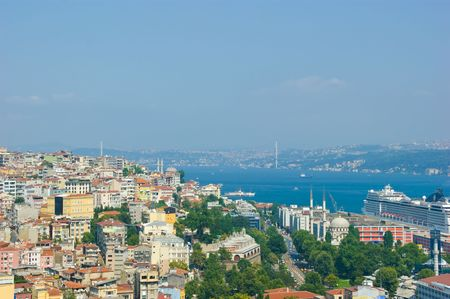 s horn: Istanbul city skape as it looks from galata tower Stock Photo