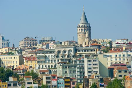 Istanbuls Galata tower from the ground up photo