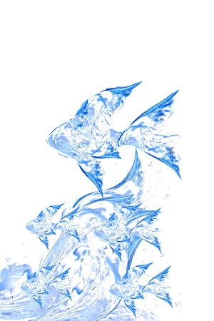splash back: Abstract water fishes from water for design, Abstract water shapes series