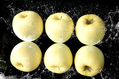 Beautiful  apples and water splashes   Objects and water serial Stock Photo - 12955141