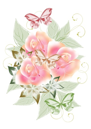 Beautiful roses illustration for your design Stock Illustration - 13306035