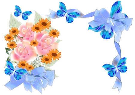 Beautiful roses illustration for your design  Holiday  frames   illustration