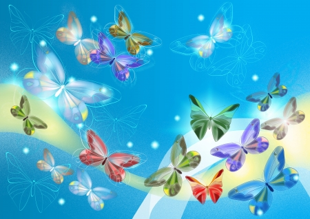 Elegant painted butterflies for  design, cards and wallpapers  Butterflies design photo