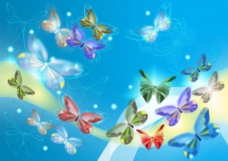 Elegante mariposas pintadas para el diseño, tarjetas y fondos de pantalla de diseño de mariposas Foto de archivo - 13799693