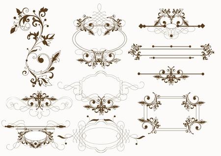 Filigree calligraphic vintage set Illustration