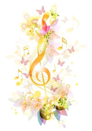 papillon rose: Élément de la belle musique Illustration