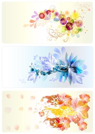 Flowers Business card templates for your elegant design Illustration