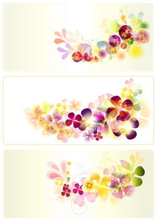 Colorful floral visit cards set for your design Vector