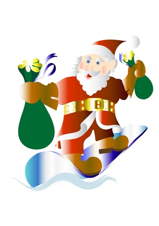 Happy and funny Santa on snowboard with presents Vector