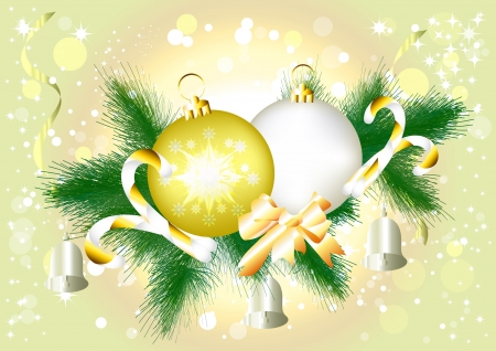 Background with baubles and fir branch for your design  Christmas vectors  Vector