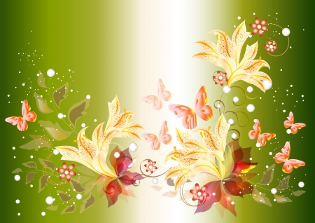 Background with flowers for your design  Floral vectors Stock Vector - 14167238