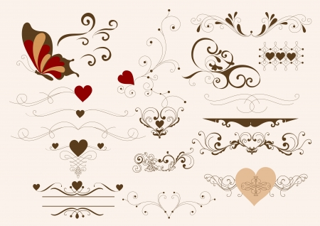 Decorative elements for calligraphic valentine  design  Calligraphic vector Vector