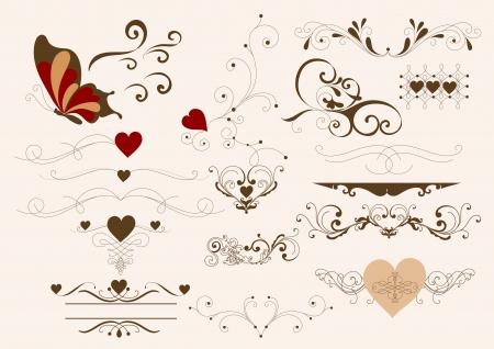 Decorative elements for calligraphic valentine  design  Calligraphic vector Vector
