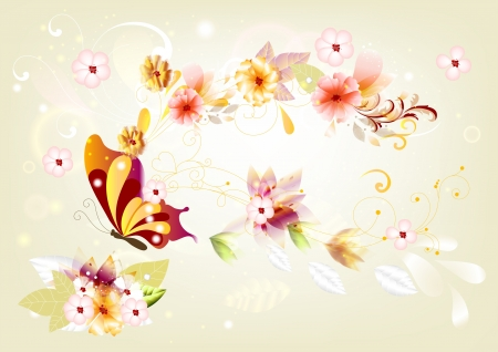 Beautiful background for greeting card design  Floral vector Stock Vector - 14259008