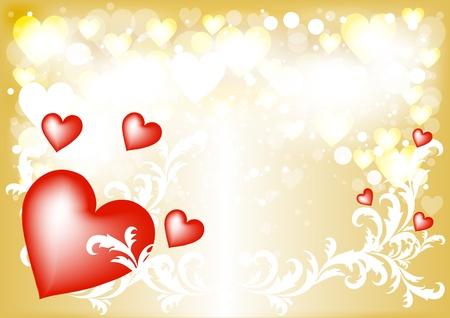 Golden Valentine greeting  card  Valentines  vector Stock Vector - 14259018