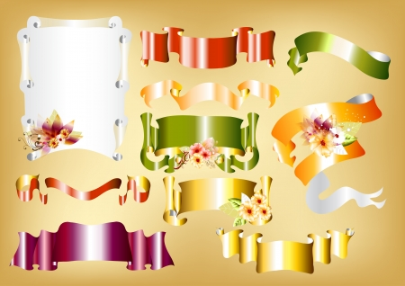 gloss banner: Vector set of ten scrolls banner  Banner for design