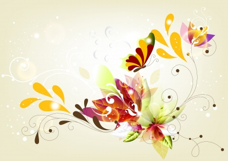 Colorful background with floral ornament  Floral vector Vector