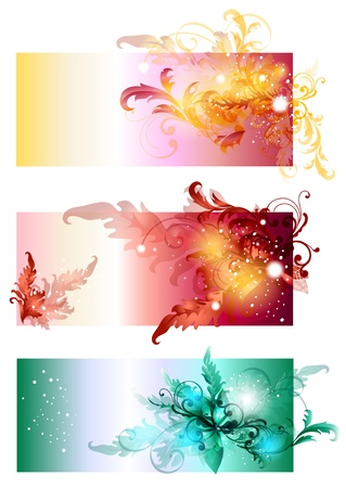 Swirly banners or visit cards for design  Vector Banner Stock Vector - 14372373
