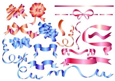moño rosa: Cintas vectoriales establecidos para el diseño
