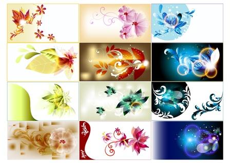 visitekaartje: Twaalf visitekaartje set voor ontwerp Stock Illustratie