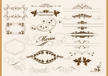 Vector set of calligraphic elements for your design  Calligraphic vector Stock Vector - 14372355