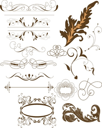 Vector set of calligraphic elements for your design  Calligraphic vector Stock Vector - 14372354