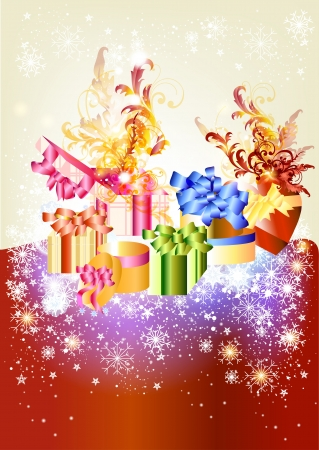 Christmas card with  gifts and snowflakes  Christmas vector Vector