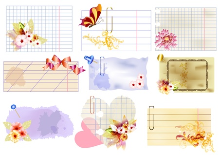 old notebook: Paper banners vector set for your design  Illustration
