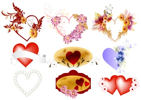 Hearts vector icons set  Valentines Vector