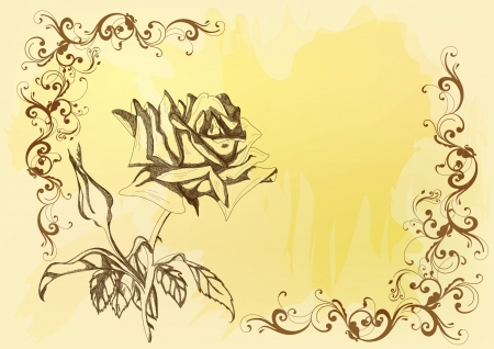 victorian anniversary: Vector with hand drawn rose ideal for design  of vintage greeting card