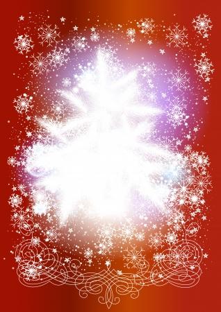 fur tree: Cartolina di Natale in stile tradizionale con albero di pelliccia e fiocchi di neve di Natale vettoriale