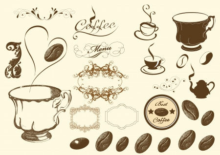 coffeepot: Coffee elements collection vector set for your stylish design  Illustration