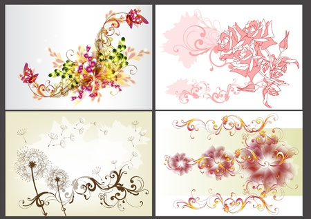 set of floral design elements in different styles  Floral elements Illustration