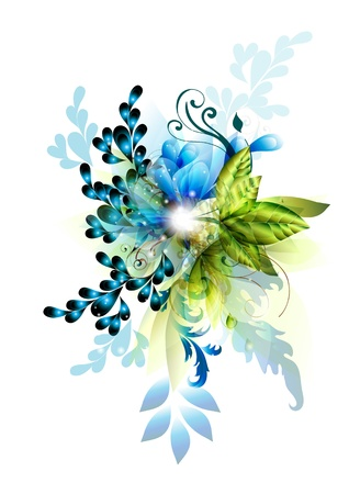 design elements: Bright blue background on floral theme for your design  Psychedelic floral vector